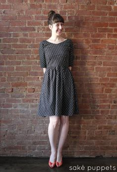 The By Hand London Elisalex. I gathered the skirt instead of using pleats, and simply extended the sides of the skirt straight to the hem fo...