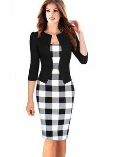 Algodón Comprobar 3/4 mangas rodilla, vestidos elegantes (01955090955)