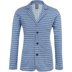 Mid Blue Stripe Jersey Casual Blazer (6.110 RUB) ❤ liked on Polyvore featuring outerwear, jackets, blazers, striped jacket, cotton jersey blazer, blue striped blazer, travel jacket and blue blazer jacket