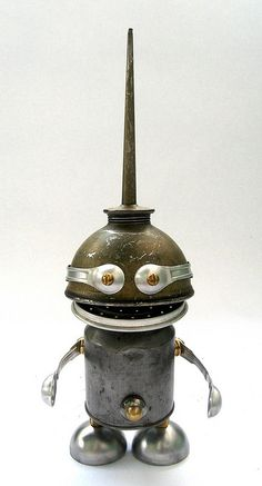 Teaspoon - Found Object Robot Assemblage Sculpture by adopt-a-bot, via Flickr