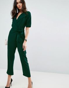 1104ea3ffe ASOS Wrap Jumpsuit with Self Belt - Green Black Jumpsuit With Sleeves