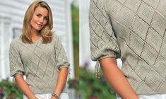 Strik en fin og feminin bluse med hulmønster. Lace Knitting Patterns, Free Knitting, Alter, Pullover, Sweaters, Tops, Dresses, Knits, Fashion