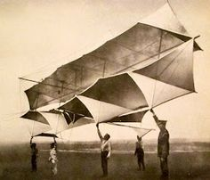 """It seems the whole world is KRAZY for KITES! This is an early """"Winged box kite"""" Châteaux de Rouzat France 1905 Nice sun hat Jean-Claude. Kite Designs, Box Kite, Kite Flying, Light Art, Gliders, Modern Art, Balloons, Wings, Airplane"""
