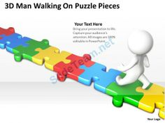 3D Man Walking on Puzzle Pieces Ppt Graphics Icons #Powerpoint #Templates #Infographics