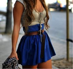 so cute, love the bright skirt, positioning on the belt and tight top to offset the volume of the skirt