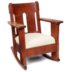 Charles Stickley rocker, heavy form with two wide vertical slats at back and heavy thru-tenons at top and arms