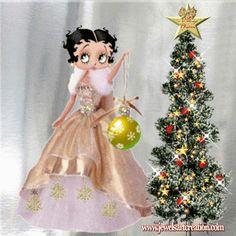 Betty Boop, Christmas tree, christmas animation, Christmas glitter
