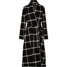 Lanvin Checked wool-blend coat ($3,690) ❤ liked on Polyvore featuring outerwear, coats, coats & jackets, lanvin, black, wool blend coat, oversized coat, black oversized coat, black coat and lanvin coat