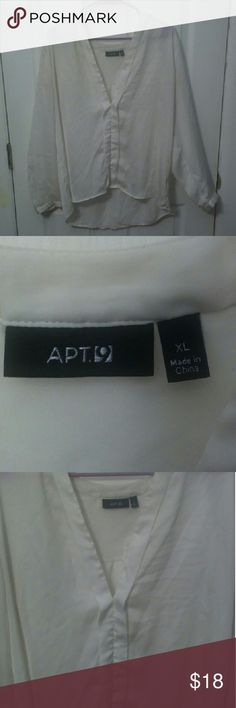 Apt. 9 White Blouse Practically brand new only worn maybe one time. Its a beautiful and simple shirt that can be paired with so many different things. The shirt looks and feels almost like silk but as shown in the picture its polyester.   ? Fast Shipping!  ? Custom Bundles Available!  ? Offers Are Always Welcomed! Apt. 9 Tops Blouses