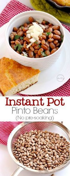I will show you how to cook dry pinto beans in the Instant Pot, and there is no pre-soaking required! Delicious, simple and easy!   APinchOfHealthy.com