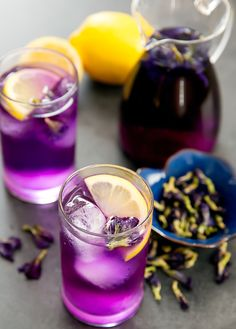 Butterfly pea flower tea lemonade- You just need to brew the tea and add sugar and lemon juice.