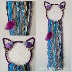 Kitty cat dream catcher purple teal