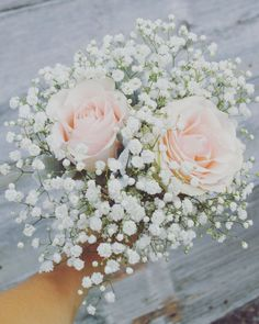 Striking and sparkling bridesmaids' bouquet with blush roses and white babies' breath. Striking and sparkling bridesmaids' bouquet with blush roses and white babies' breath. Simple Bridesmaid Bouquets, Prom Bouquet, Small Wedding Bouquets, Wedding Flower Packages, Blush Wedding Flowers, Prom Flowers, Blush Roses, Bride Bouquets, Bridal Flowers