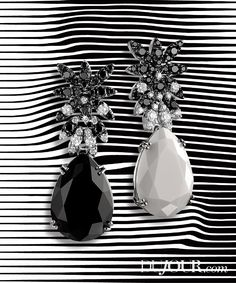 Earrings in 18-karat white gold with diamonds and black spinels, $4,240 each, PASQUALE BRUNI, Mayors Jewelers