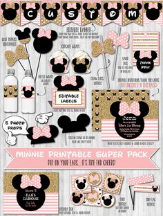Minnie mouse party decor printable pack toppers banner labels ideas blush pink gold wonderbash
