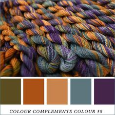 Do you have an eye for colour? If not, let me help you with my new series featuring Colour Complements hand-dyed embroidery thread colours! Yarn Color Combinations, Fall Color Schemes, Color Schemes Colour Palettes, Fall Color Palette, Color Palate, Beautiful Color Combinations, Vintage Colors, Unique Colors, Colour Board