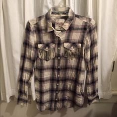 Long sleeve shirt with Sparkle pockets. Blue and white/beige check long sleeve shirt 100% cotton and light weight. Mudd Tops Button Down Shirts