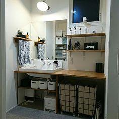 Bathroom/無印良品/飾り棚/フェイクグリーン/壁に付けられる家具/造作洗面台...などのインテリア実例 - 2017-11-25 14:17:38