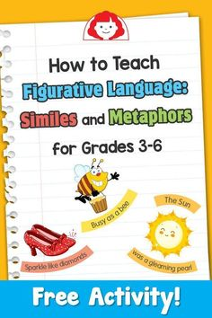 Teaching similes and metaphors is the first step in moving your students beyond literal meaning and teaching them to mature as writers. Students need to see and hear figurative language many times before they will use it in their own. Language Lessons, Language Activities, Language Arts, English Language, English Grammar, Grammar Activities, Speech Activities, Teaching English, Writing Lessons