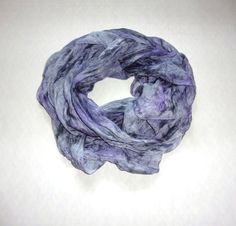 Silk scarf tippet  silvery lilac hand-painted silk by batikelena