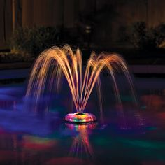 The Small Light Show and Fountain floats, spins and sprays colors above and below the water. It is battery operated so there are no hose hookups to restrict movement, and the beautiful dancing water s