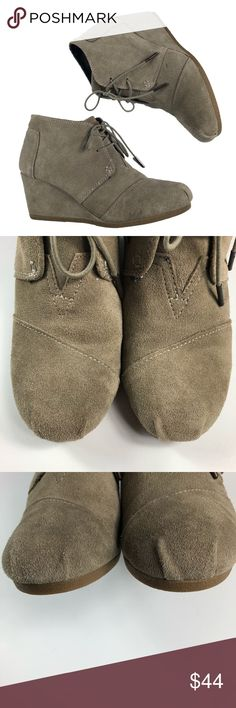"""TOMS Desert Wedge Suede Bootie Taupe Sz 9 Toms Desert Wedge bootie in taupe. Utilitarian look and feel. Wedge heel. Lace-up style. Toms label on the tongue and also on the back heel. These are in very good condition with some faint markings as notated in last picture. ❌NO TRADES❌  Heel: 2 1/2"""" Boot Shaft: 3 1/4"""" Toms Shoes Ankle Boots & Booties"""