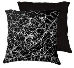 """18x18 pillow """"doodle black"""" by eliso ignacio silva simancas"""