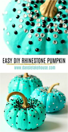 Looking for modern pumpkin decorating ideas? Check out this easy DIY Rhinestone Pumpkin! Cute pumpkin decorating for kids projects because it's super simple but fun. I love turquoise pumpkin decor but you could paint these any color - or apply the rhinestones to natural pumpkins too! Turquoise pumpkin painting projects and sparkly turquoise pumpkins. #turquoisepumpkins #rhinestone #pumpkindecorating Diy Pumpkin, Cute Pumpkin, Pumpkin Carving, Pumpkin Painting, Pumpkin Ideas, Pumpkin Crafts, Modern Halloween Decor, Diy Halloween Decorations, Halloween Diy