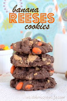 Chocolate cookies made with a cake mix, bananas, and lots of Reeses.  #cookies #peanutbutter