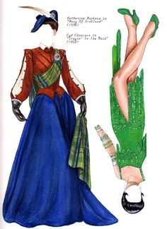 "GOWNS BY PLUNKETT (COLOR) | Adapted from the still popular B&W version, but does include some new outfits not in the first. These include Vivien Leigh's ""mill scene"" dress from GWTW; Lana Turner's red gown from ""Diane""; Cyd Charisse in ""Singin' In The Rain"" and more. By BRENDA S MATTOX [KATHERINE HEPBURN-MARY OF SCOTLAND, CYD CHARISSE-SINGIN' IN THE RAIN]"