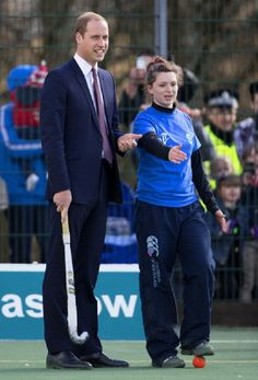Prince William, Earl of Strathearn participates in a hockey demonstration as he visit the Donald Dewar Leisure Centre to launch a new project for their foundation on 4 April 2013 in Glasgow, Scotland