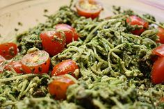 2 1/2 cups packed spinach  3/4 cup fresh basil leaves  1/3 cup sun dried tomatoes, chopped  3 Tablespoons hemp seeds  3 Tablespoons lemon juice  2-3 Tablespoons water  3 Tablespoons olive oil  1 Tablespoon nutritional yeast  1 large clove garlic  1/2 teaspoon Himalayan salt