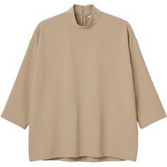 Monki Irmel blouse ($43) ❤ liked on Polyvore featuring tops, blouses, alias beige, beige top, snug top, brown tops, beige blouse и wet look top