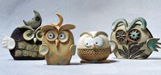 """Civette, Gufi, Barbagianni / Little owls, owls, barn owls"" cod. 001, Ø 7 cm x h 12 cm (dimensioni indicative / indicative dimensions) Ceramiche sonore / Sonorous ceramics"