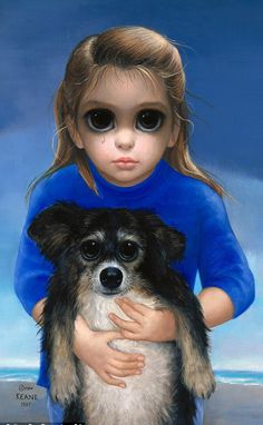 Big Eyes Girl with Dog by Margaret Keane                              …