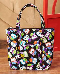 Owl Print Quilted Duffel Bag Luggage Travel Weekender Overnight Large Lined