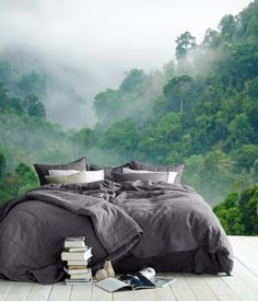 Fototapete fürs Schlafzimmer: Tapete mit Motiv Regenwald im Morgennebel / self-adhesive photo wallpaper for your bedroom. Wallpaper with rain forest print made by Tapet-Show via DaWanda.com