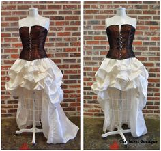 Steampunk wedding gown-steampunk dress-hi low corset wedding dress-plus size custom made ivory and copper by thesecretboutique on Etsy https://www.etsy.com/listing/201877300/steampunk-wedding-gown-steampunk-dress