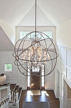 Foyer Lighting Ideas. Light is from Restoration Hardware Foucault. #Foyer #FoyerLighting   EB Designs