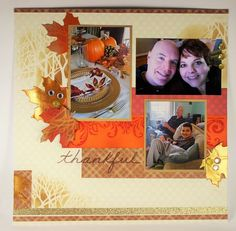 #Cre8time for fall trees and leaves scrapbook page.  #Stampendous #DWstencils
