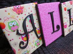 Wall Letters Framed Monogram Owl Nursery by spellitwithstyle, $13.99