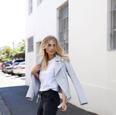 Sneak Peak // Leather by xxx 📷 Grey Suede Jacket, Leather Jacket Outfits, Gray Jacket, Elyse Knowles, Elegant Outfit, Everyday Fashion, Spring Outfits, Celebrity Style, Cute Outfits