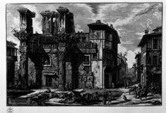 Colonnacce del Foro di Nerva, Giovan Battista Piranesi, 1774, vista frontale, con la prosecuzione della via Alessandrina verso la Basilica di Massenzio
