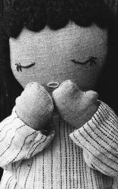 Handcrafted natural fiber Irish linen doll from kathryn davey