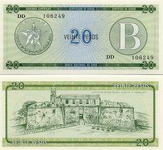 Cuba 20 Pesos (1985)  Front: Emblem of Banco Nacional de Cuba; Back: Castillo de la Real Fuerza, Ciudad de la Habana, year 1577.