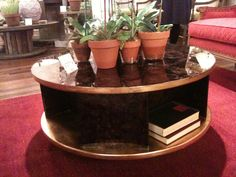 """Turning Tables seems to be a BIG trend at I love multi purpose pieces that are pretty to look at. This """"Dizzy Table Swivel Cocktail Table"""" is from Currey & Co Diy Furniture Decor, Coffee And End Tables, Interior Design Business, Atlanta Homes, Cocktail Tables, Turning, Purpose, That Look, Cocktails"""