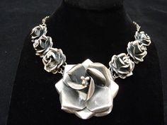 VINTAGE TAXCO Mexico Sterling Rose Necklace 64.9G Modernist