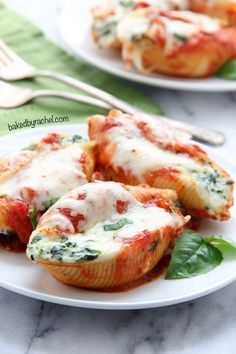 Spinach-Ricotta Stuffed Shells!  Jumbo pasta shells stuffed with spinach and ricotta. An easy and flavorful dinner for any night of the week!