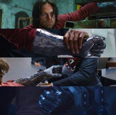 Bucky & his beautiful arm. Avengers Superheroes, Marvel Dc Comics, Marvel Avengers, Winter Soldier Cosplay, Winter Soldier Bucky, Bucky Barnes, Steve Rogers, Captain America Movie, Bucky And Steve