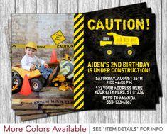 Construction Birthday Invitation - Construction Invitation by PuggyPrints